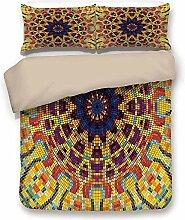 Bettbezug-Set, gelbe Mandala, geometrische Mosaik
