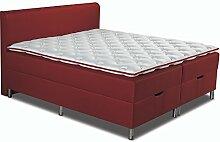 Betten-ABC Boxspring Bett Schwarzwald Comfortbox mit Tonnentaschenfederkernmatratze, Kaltschaumtopper und Bettkasten, Größe: 120 x 200  cm, Farbe: 16, Stoff Kaminro