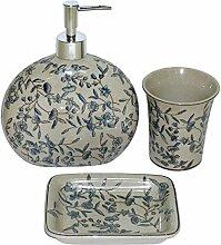Better & Best 1394250–Bad-Set 3-teilig aus Porzellan, mit blauen Blumen-Dekoration: Seifenspender, Zahnputzbecher und Seifenschale