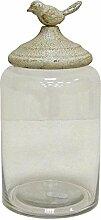 Better & Best 2122032–Glasdose rund, hoch, glatt, mit weißem Deckel mit Vögelchen