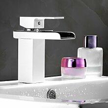 Betterhouse® Wasserfall Wasserhahn Einhebelmischer Waschbecken Bad Armatur Waschtischarmatur weiß + Silber