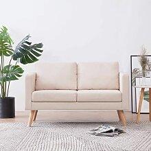 Betterlife - 2-Sitzer-Sofa Stoff Cremeweiß