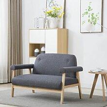 Betterlife - 2-Sitzer-Sofa Stoff Dunkelgrau