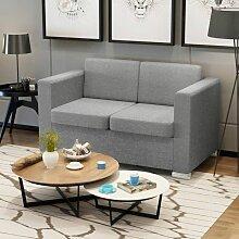 Betterlife - 2-Sitzer Sofa Stoff Hellgrau