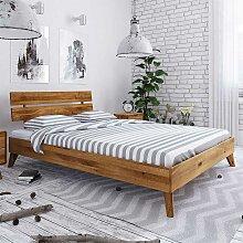 Bettgestell aus Wildeiche Massivholz 35 cm
