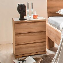 Bettkommoden Set aus Kernbuche Massivholz 50 cm