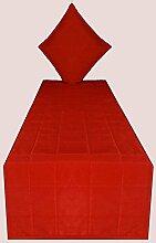 Bettläufer rot Bett Schal Polyester lang Rechteck Dekorative King/Queen/Twin Tischläufer mit dekorative Kissenhülle (rot, 50,8cm breit x 172,7cm lang)