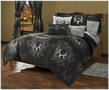 Bettlaken-Set, Fadenzahl 180, Größe: 2; Farbe: grau/schwarz