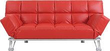 Bettsofa aus rotem Leder mit 3 Sitzplätzen