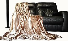 Bettüberwurf Tagesdecke glänzend gecrushter Samt New Sofa oder Bett Überwurf oder Kissenhülle (Champagner, 200cm x 140cm)