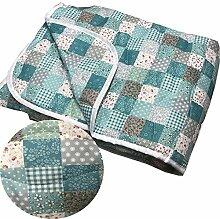 Bettüberwurf Tagesdecke Sofaüberwurf gesteppt von JEMIDI 220 x 240 Tagesdecke Überwurf Bett Husse Decke XXL (Patchwork Türkis)