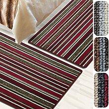 Bettumrandung Broadway   verschiedene Bettvorleger Sets   3 teilig für Schlafzimmer mit Läufer und Brücken   Bett Teppiche mit GUT Siegel   große Farbauswahl   verschiedene Größen (Rot gestreift, SET 2: 1 mal 67x330 cm und 2 mal 67x130 cm)