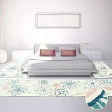 Bettumrandung für Kinder- und Jugendzimmer, Kinderteppich Jugendteppich mit Pastellfarben, Teppich-Läufer mit Blumen-Motiv in Pastellblau/-rosa, Mint, Creme, 3-teilig; 2x 80x150 cm und 1x 80x300 cm