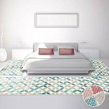 Bettumrandung für Schlafzimmer, Flachflor in Pastellfarben mit Modernen Design/ Mosaik-Muster, 3-teilig: Läufer 2x 80x150 cm, 1x 80x300 cm