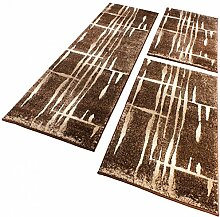 Bettumrandung Läufer Modern Meliert Design Braun Beige Creme Läuferset 3 Teilig, Grösse:2mal 60x100 1mal 70x250