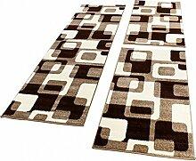 Bettumrandung Läufer Retro Design Braun Beige Creme Läuferset 3 Teilig, Grösse:2mal 70x140 1mal 70x250