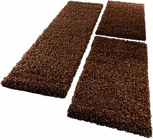 Bettumrandung Läufer Shaggy Hochflor Langflor Teppich in Braun Läuferset 3Tlg., Grösse:2mal 70x140 1mal 70x250