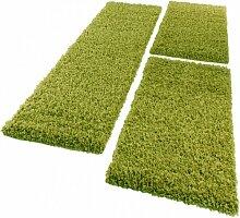 Bettumrandung Läufer Shaggy Hochflor Langflor Teppich in Grün Läuferset 3 Tlg., Grösse:2mal 60x100 1mal 70x250