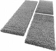 Bettumrandung Läufer Shaggy Hochflor Langflor Teppich in Grau Läuferset 3Tlg., Grösse:2mal 70x140 1mal 70x250