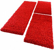 Bettumrandung Läufer Shaggy Hochflor Langflor Teppich in Rot Läuferset 3Tlg., Grösse:2mal 70x140 1mal 70x250