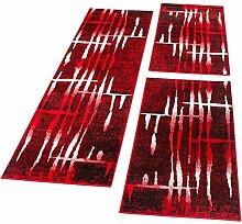Bettumrandung Läufer Teppich brücken Meliert Design in Rot Läuferset 3 Tlg., Grösse:2mal 60x100 1mal 70x250