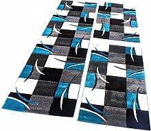 Bettumrandung Läufer Teppich Kariert in Türkis Grau Schwarz Weiß Läuferset 3 Tlg, Grösse:2mal 60x110 1mal 80x300