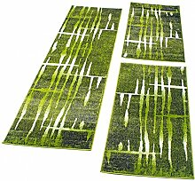 Bettumrandung Läufer Teppich Meliert Design Grün Creme Läuferset 3 Tlg., Grösse:2mal 70x140 1mal 70x250