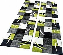 Bettumrandung Läufer Teppich Modern Karo Grün Grau Schwarz Weiss Läuferset 3 Tlg, Grösse:2mal 80x150 1mal 80x300