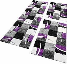 Bettumrandung Läufer Teppich Modern Karo Lila Schwarz Creme Läuferset 3 Tlg., Grösse:2mal 60x110 1mal 80x300