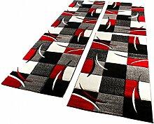 Bettumrandung Läufer Teppich Modern Karo Rot Grau Schwarz Weiss Läuferset 3 Tlg., Grösse:2mal 80x150 1mal 80x300