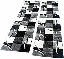 Bettumrandung Läufer Teppich Modern Karo Schwarz Grau Weiss Läuferset 3 Tlg., Grösse:2mal 60x110 1mal 80x300