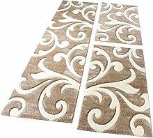 Bettumrandung Läufer Teppich Modern Ranken Muster Beige Creme Läuferset 3 Tlg., Grösse:2mal 60x110 1mal 80x300