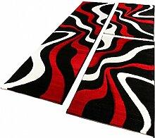 Bettumrandung Läufer Teppich Muster Modern Rot Schwarz Weiss Läuferset 3 Tlg., Grösse:2mal 60x110 1mal 80x300