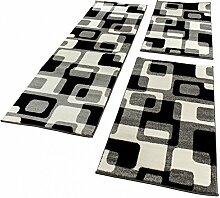 Bettumrandung Läufer Teppich Retro Design Grau Schwarz Weiss Läuferset 3 Tlg., Grösse:2mal 60x100 1mal 70x250
