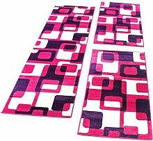 Bettumrandung Läufer Teppich Retro Design in Pink Lila Läuferset 3 Tlg., Grösse:2mal 60x100 1mal 70x250
