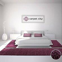 Bettumrandung Läufer Teppich Shaggy Hochflor Langflor Einfarbig Lila Schlafzimmer 3-teilig 2x 80x150cm/ 1x 80x300cm