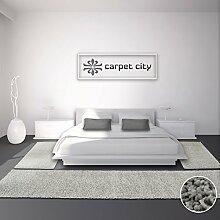 Bettumrandung Läufer Teppich Shaggy Hochflor Langflor Einfarbig Grau/Silber Schlafzimmer 3-teilig 2x 80x150cm/ 1x 80x300cm