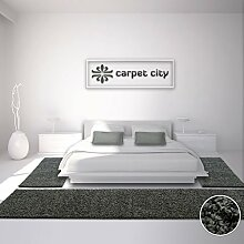 Bettumrandung Läufer Teppich Shaggy Hochflor Langflor Einfarbig Dunkelgrau Schlafzimmer 3-teilig 2x 80x150cm/ 1x 80x300cm