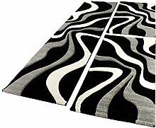 Bettumrandung Läufer Teppich Trendig Modern Grau Schwarz Weiss Läuferset 3Tlg, Grösse:2mal 80x150 1mal 80x300