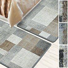 Bettumrandung Lucano   Bettvorleger Set   3 teilig für Schlafzimmer mit Läufer und Brücken   mit dezentem Muster   Braun, SET: 1 mal 80x300 cm und 2 mal 80x150 cm