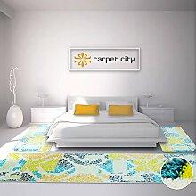 Bettumrandung Modern Designer Teppich für Schlafzimmer Floral türkis mintgrün gelb orange 1x 80x300 cm, 2x 80x150 cm