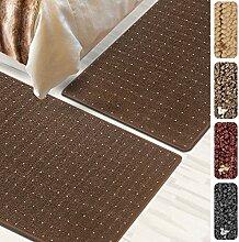 Bettumrandung Rapido   verschiedene Bettvorleger Sets   3 teilig für Schlafzimmer mit Läufer und Brücken   Bett Teppiche mit GUT Siegel   mit Punkt Muster   verschiedene Größen (Braun, SET 2: 1 mal 67x330 cm und 2 mal 67x130 cm)