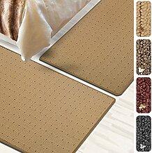 Bettumrandung Rapido   verschiedene Bettvorleger Sets   3 teilig für Schlafzimmer mit Läufer und Brücken   Bett Teppiche mit GUT Siegel   mit Punkt Muster   verschiedene Größen (Beige, SET 3: 1 mal 80x300 cm und 2 mal 80x150 cm)