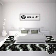 Bettumrandung Shaggy-Design Teppich-Läufer Hochflor Langflor mit Wellen-Muster für Schlafzimmer in Schwarz, 3-teilig, Läufer-Größen: 2x 80x150 cm, 1x 80x300 cm