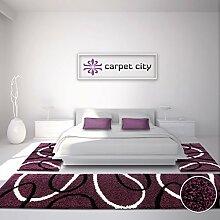 Bettumrandung Shaggy-Design Teppich-Läufer Hochflor Langflor mit Bogen-Muster für Schlafzimmer in Lila/ Violet, 3teilig, Läufer-Größen: 2x 80x150 cm, 1x 80x300 cm