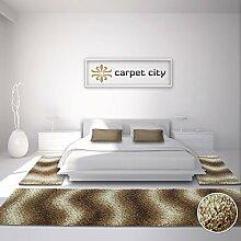 Bettumrandung Shaggy-Design Teppich-Läufer Hochflor Langflor mit Wellen-Muster für Schlafzimmer in Beige, Braun, Creme, 3-teilig, Läufer-Größen: 2x 80x150 cm, 1x 80x300 cm