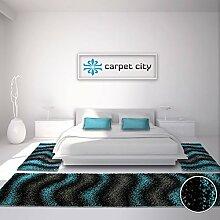 Bettumrandung Shaggy-Design Teppich-Läufer Hochflor Langflor mit Wellen-Muster für Schlafzimmer in Türkis, Grau, Schwarz, 3-teilig, Läufer-Größen: 2x 80x150 cm, 1x 80x300 cm