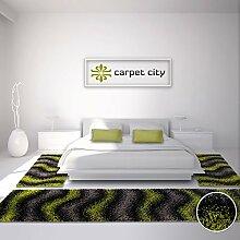 Bettumrandung Shaggy-Design Teppich-Läufer Hochflor Langflor mit Wellen-Muster für Schlafzimmer in Grün, Grau, Schwarz, 3-teilig, Läufer-Größen: 2x 80x150 cm, 1x 80x300 cm