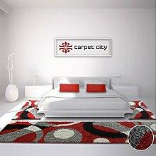 Bettumrandung Shaggy-Design Teppich-Läufer Hochflor Langflor mit Patchwork-Muster für Schlafzimmer in Rot/ Grau, 3-teilig, Läufer-Größen: 2x 80x150 cm, 1x 80x300 cm
