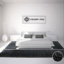 Bettumrandung Shaggy-Teppich-Läufer, Flauschiger Hochflor, Einfarbig/ Uni Schwarz für Schlafzimmer, 3-teilig, Läufer-Größen: 2x 80 x 150 cm und 1x 80 x 300 cm